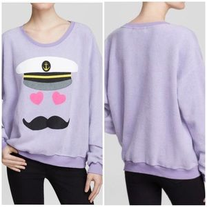 Wildfox Sz Small Captain Roadie Flocked Pullover